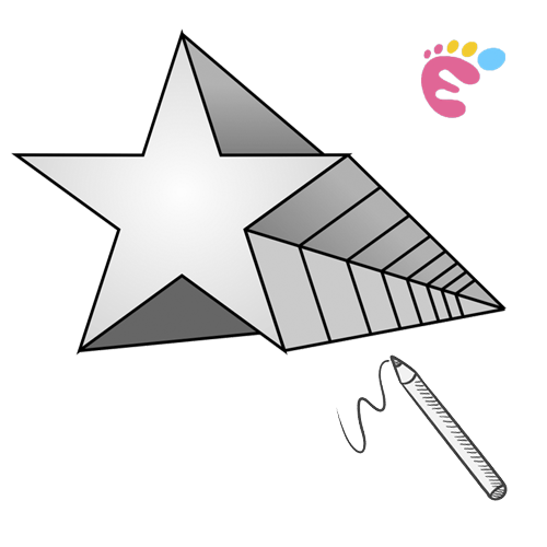 How to draw a 3d star shape icon