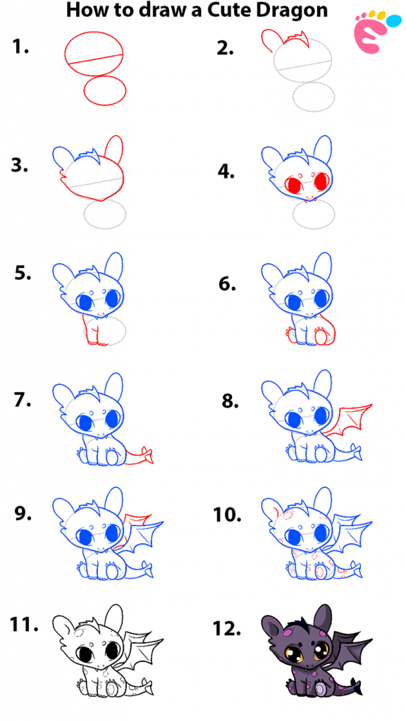 How to draw a Cute Dragon 1