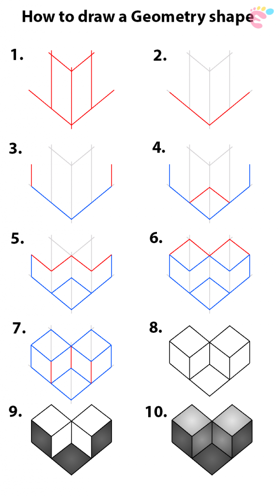 How to draw a 3D Geometry Shape 1