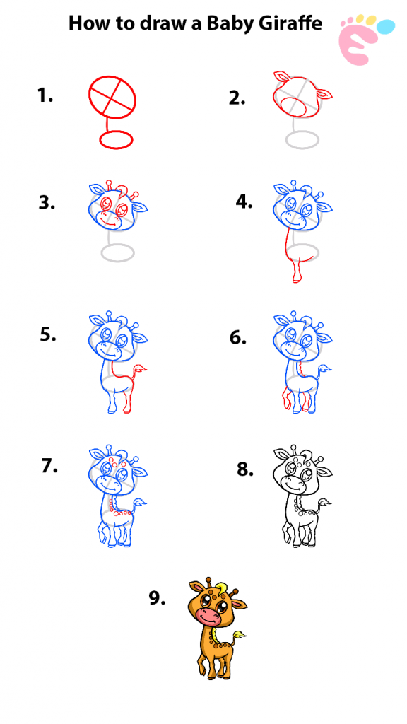 How to draw a Baby Giraffe 1