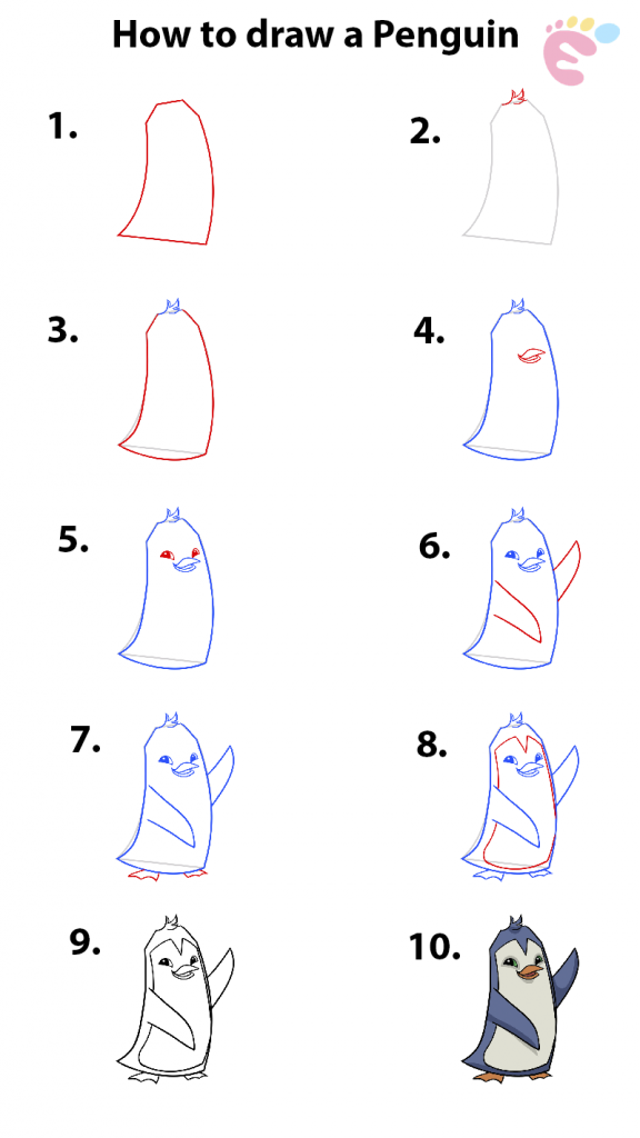 How to draw a Penguin full tutorials