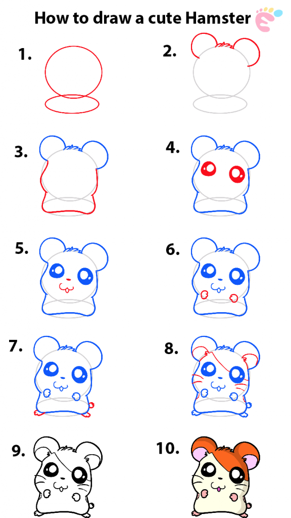 How to draw an Adorable Hamster 1
