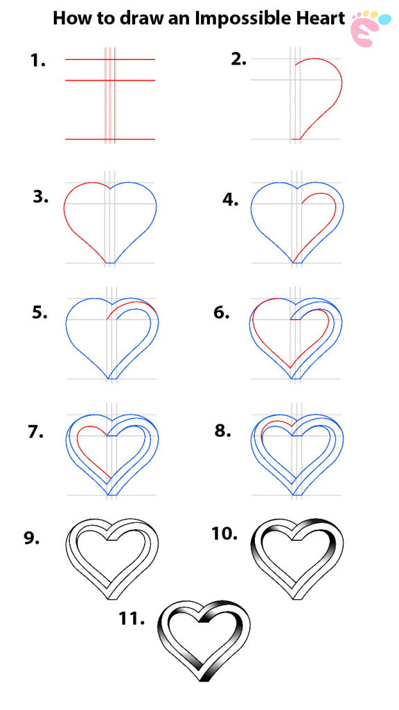 How to draw an Impossible Heart 1