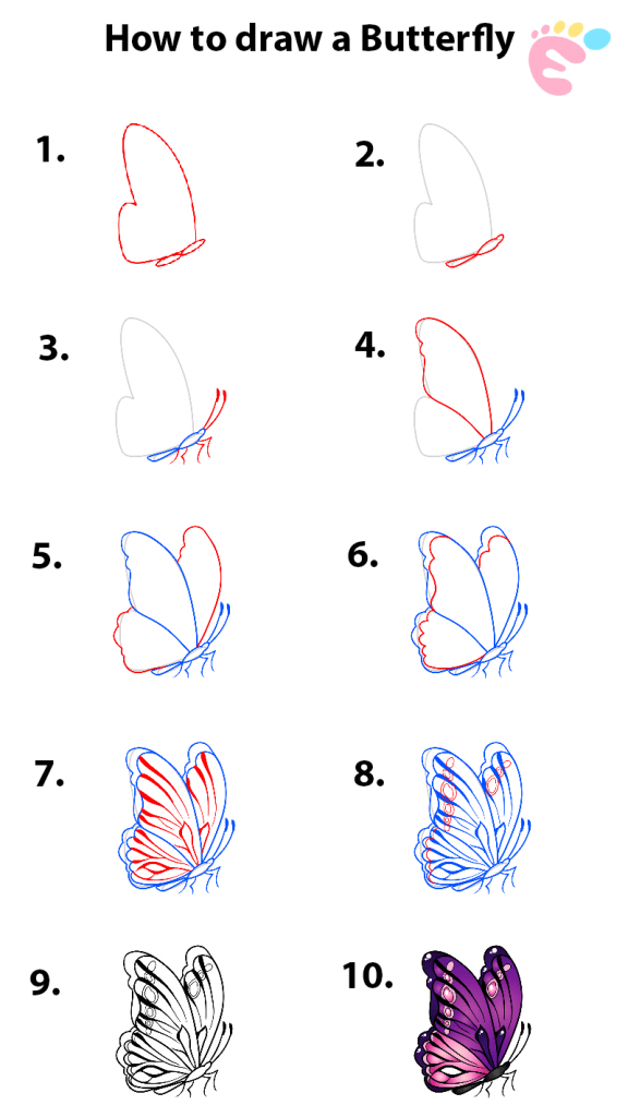How to draw a Butterfly line drawing