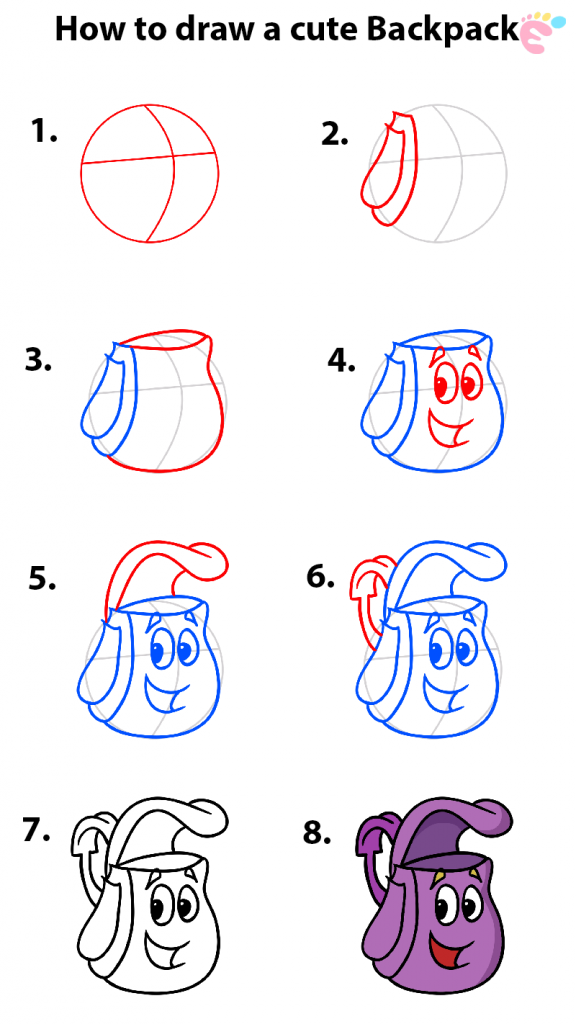 How to draw a backpack drawing
