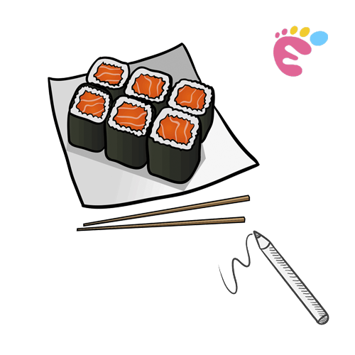 How to draw Sushi drawing icon
