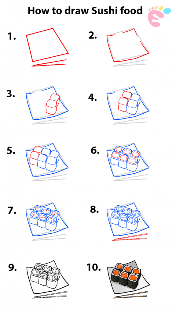 How to draw Sushi drawing