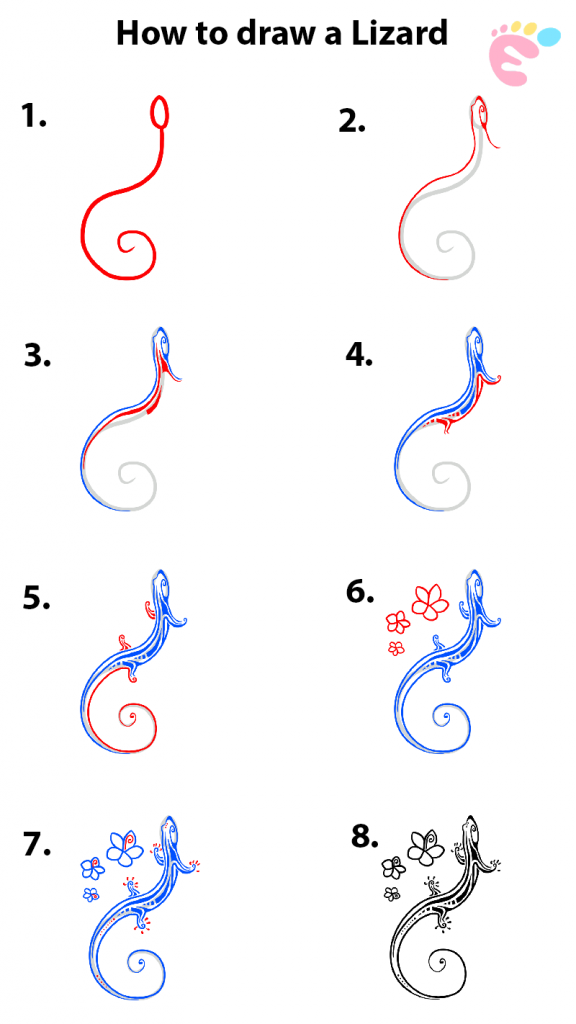 How to draw a Lizard drawing
